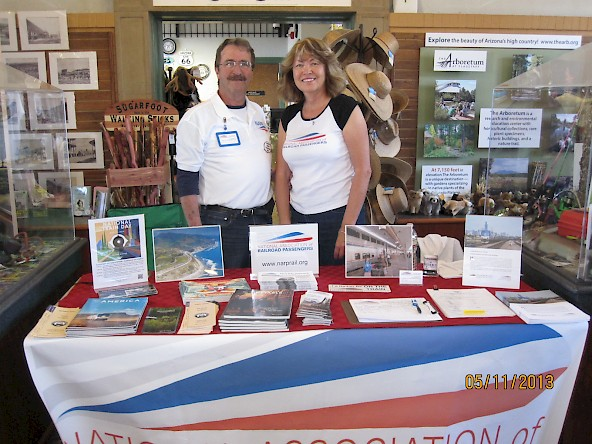George and Kathleen Stupski at the NARP table for National Train Day at the Flagstaff depot.