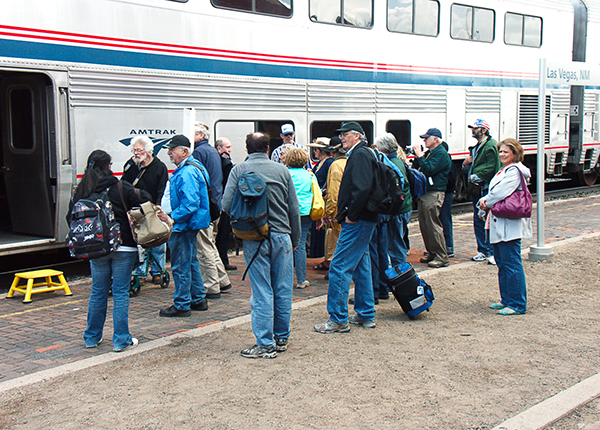 Passengers wait to board the westbound Chief at Las Vegas, NM on Train Day.