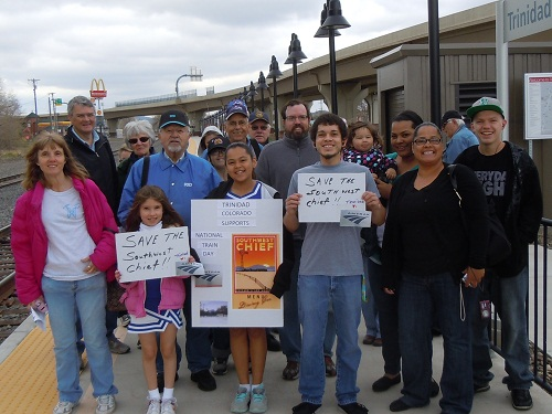 Southwest Chief supporters on the Amtrak platform in Trinidad, CO on May 11.